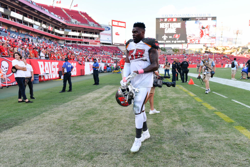 Tampa Bay Buccaneers outside linebacker Shaquil Barrett walks off the field