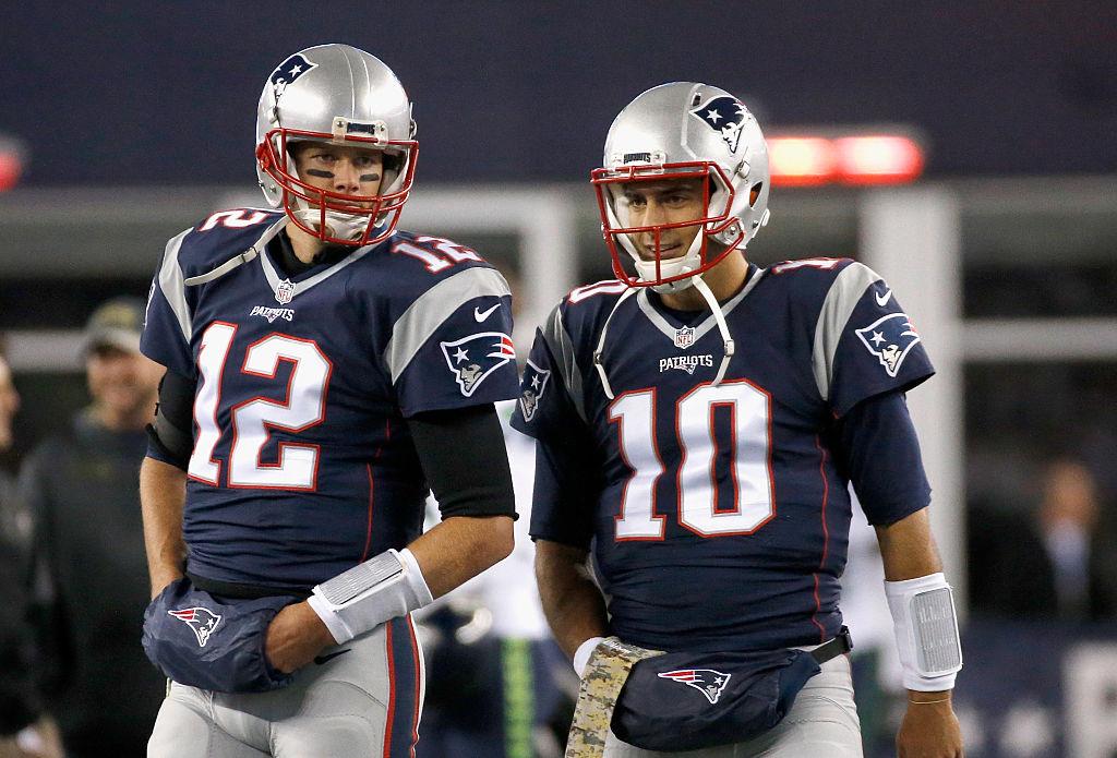 Former Patriots quarterbacks Tom Brady and Jimmy Garoppolo