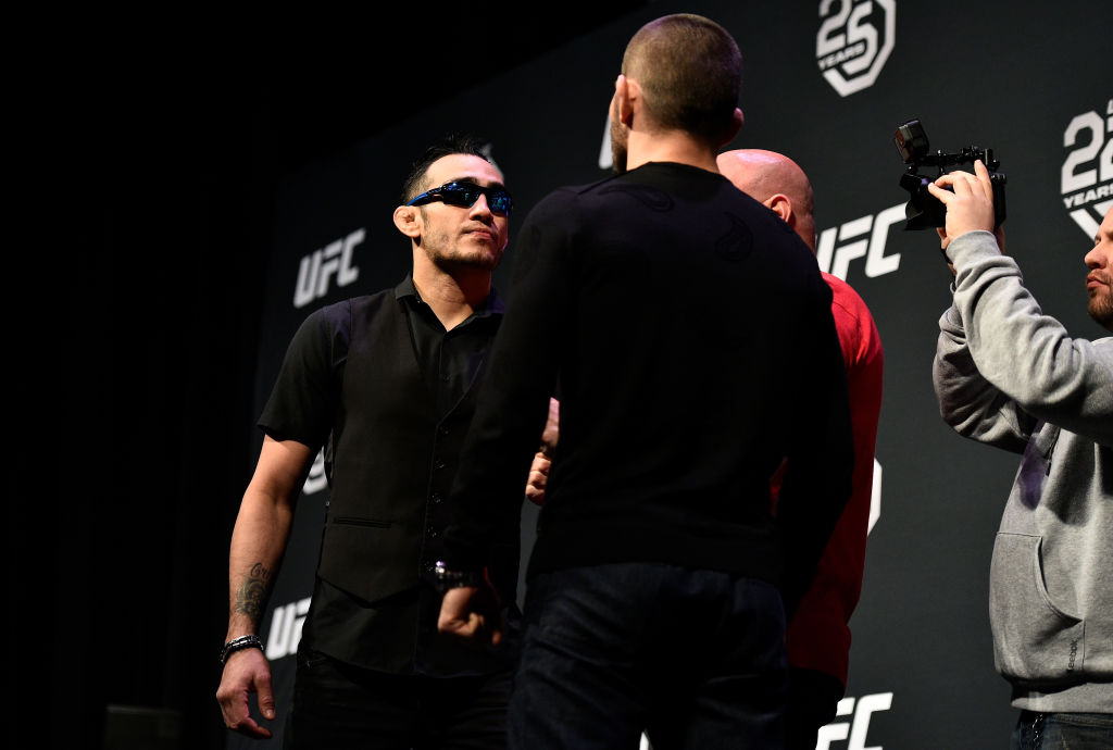 Opponents Tony Ferguson and Khabib Nurmagomedov face off during the UFC press conference
