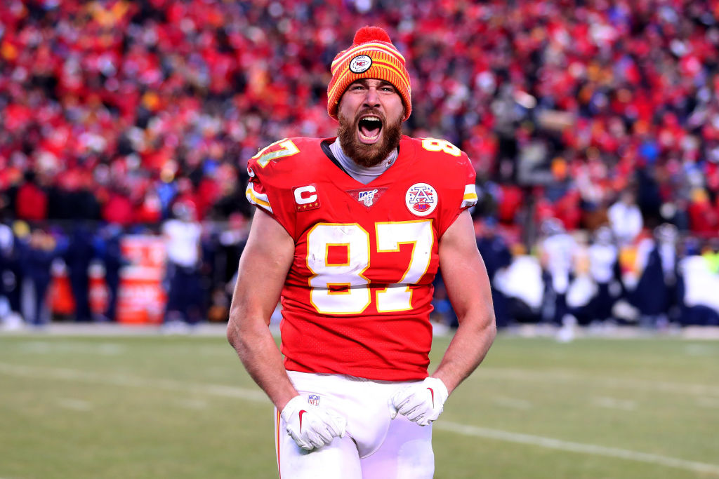 Travis Kelce of the Kansas City Chiefs reacts late in a game