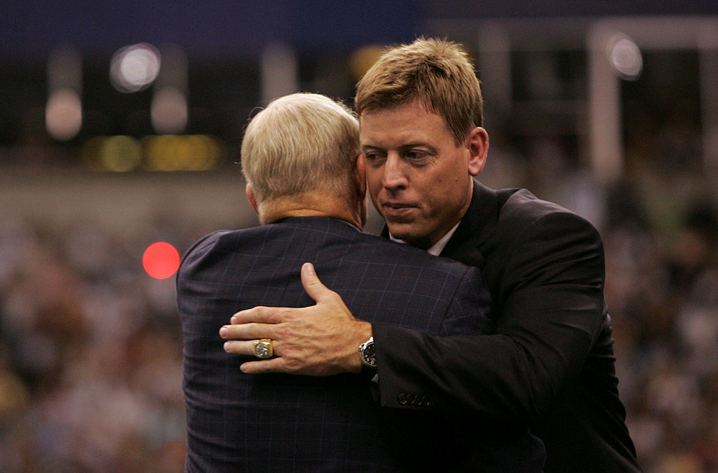 Troy Aikman, former Dallas Cowboys Quaterback, hugs Jerry Jones, Cowboys Team owner