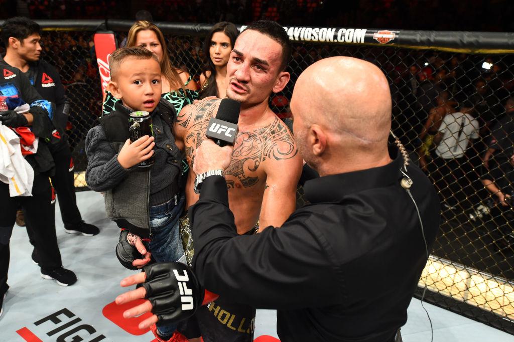 UFC featherweight champion Max Holloway is interviewed by Joe Rogan