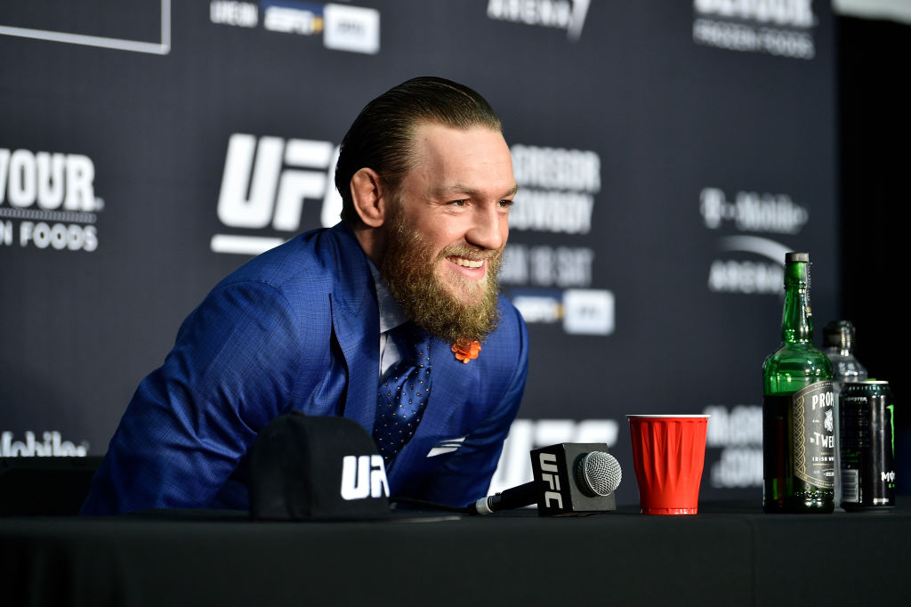 Conor McGregor of Ireland speaks to the media following UFC 246