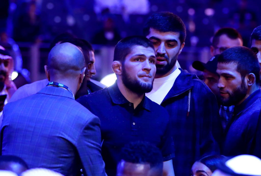UFC fighter Khabib Nurmagomedov is seen ringside during the of the WBC World Heavyweight Eliminator fight