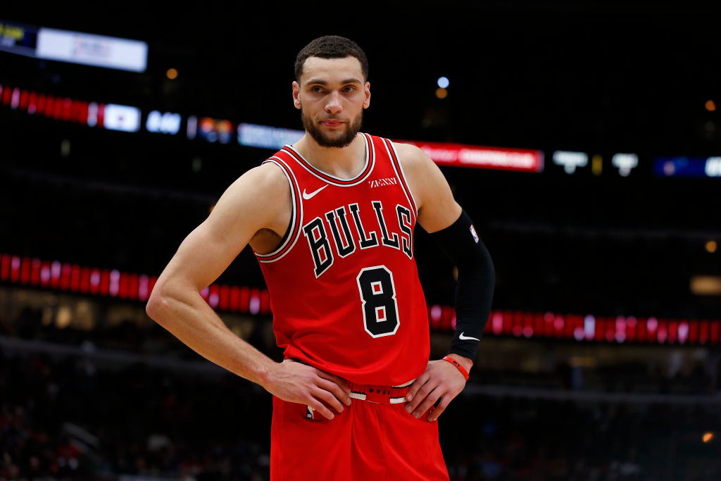 Zach LaVine of the Chicago Bulls waits for a play to begin