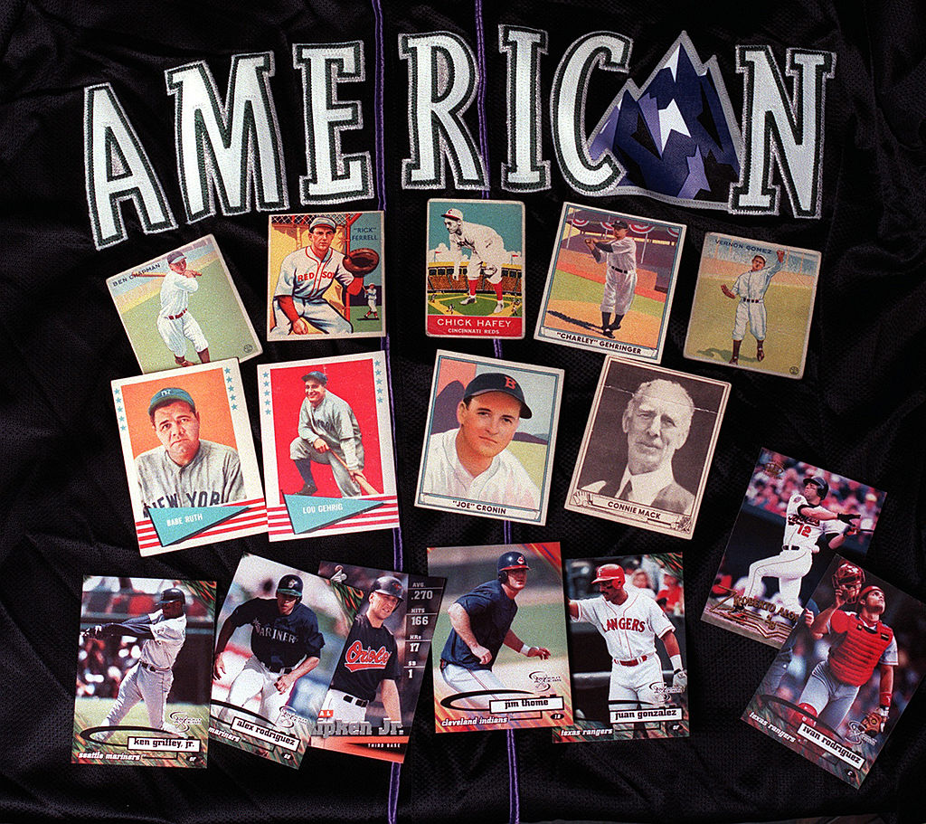 A display of collectible baseball cards from Bill's Collectibles from the American League