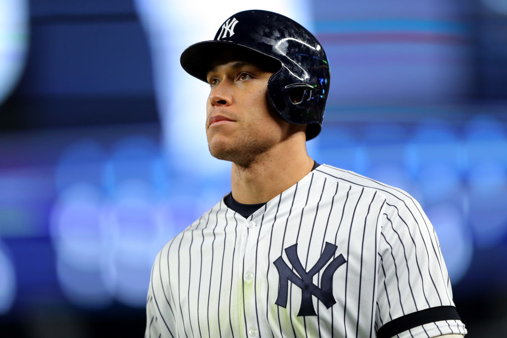 Aaron Judge of the New York Yankees looks on during Game 4 of the ALCS
