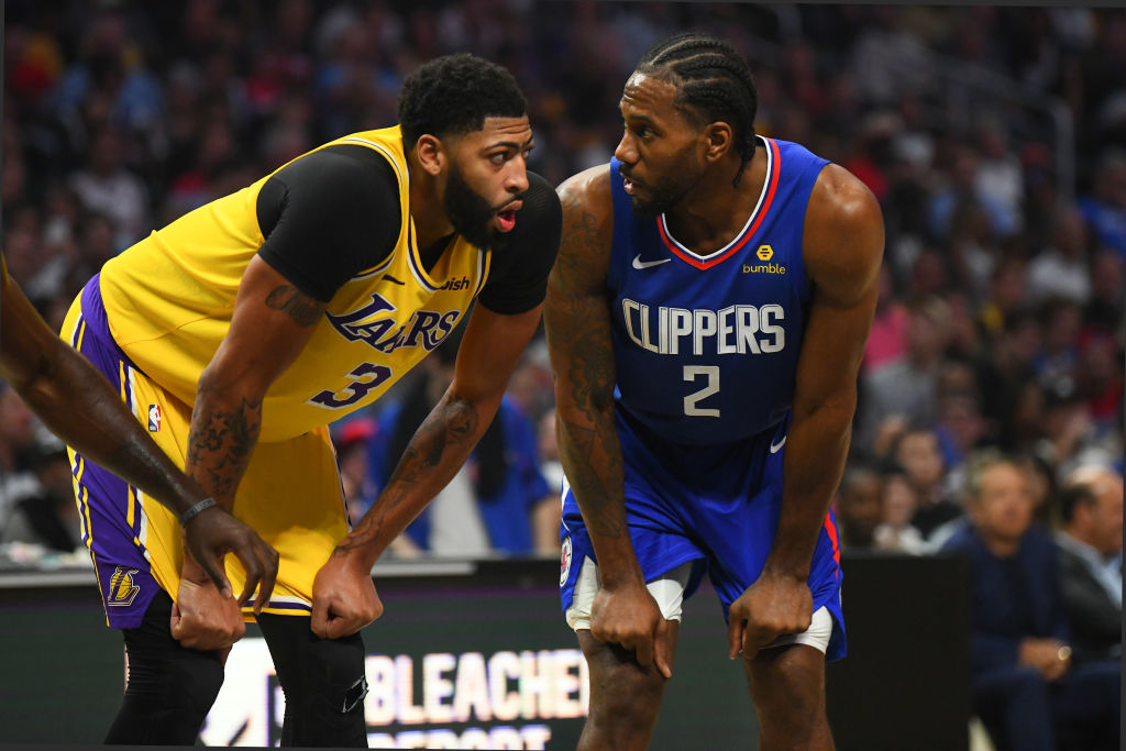Lakers forward Anthony Davis and Clippers forward Kawhi Leonard