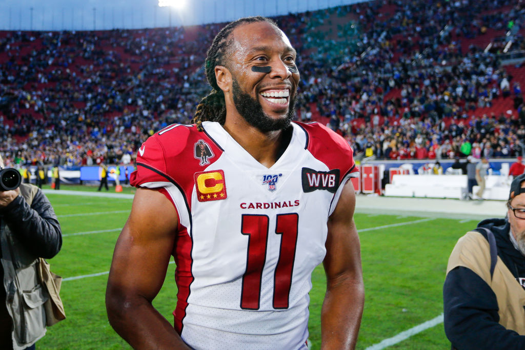 Arizona Cardinals wide receiver Larry Fitzgerald after an NFL game in 2019