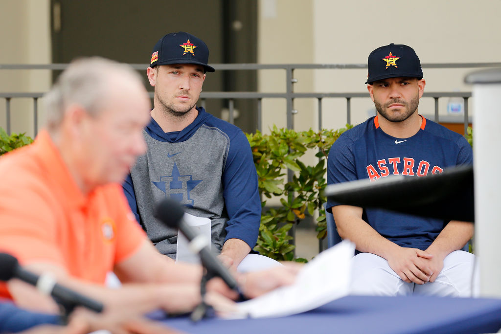 Astros infielders Alex Bregman and Jose Altuve