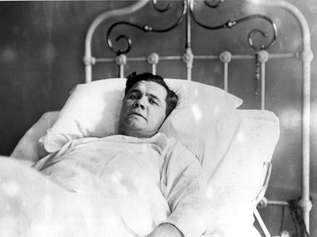 Babe Ruth in hospital during illness