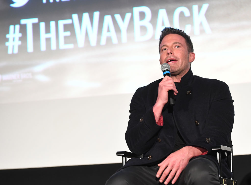 Ben Affleck on stage giving an interview