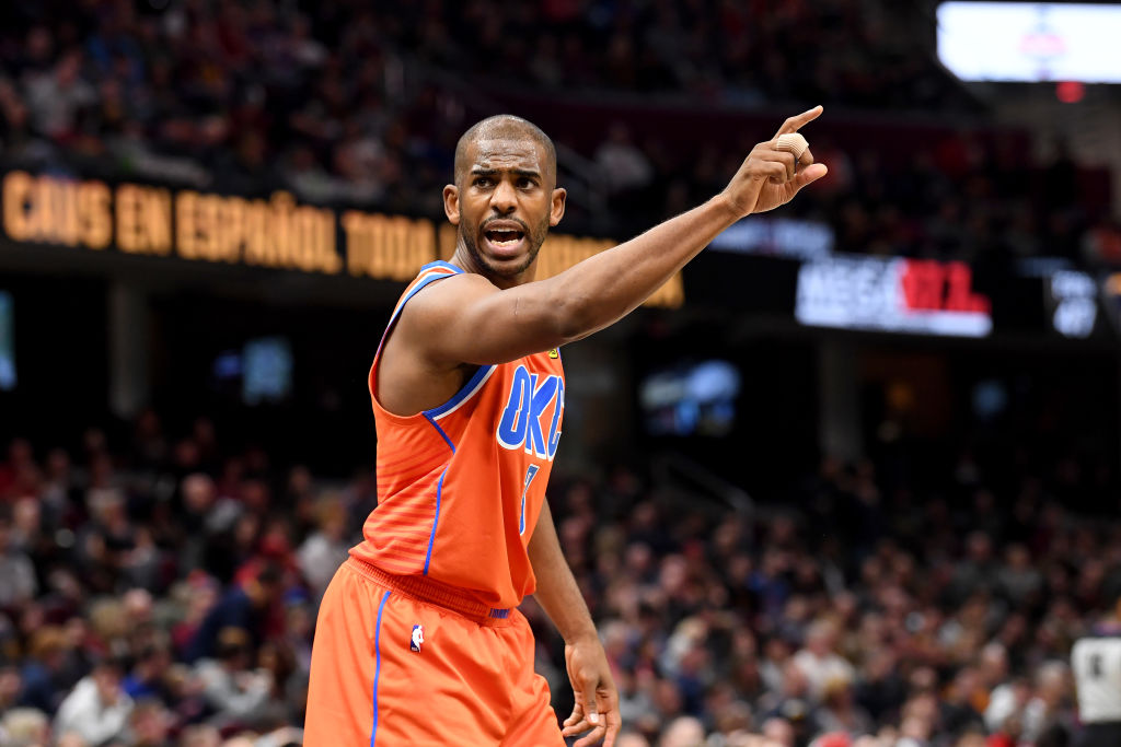 Chris Paul of the Oklahoma City Thunder yells to a teammate