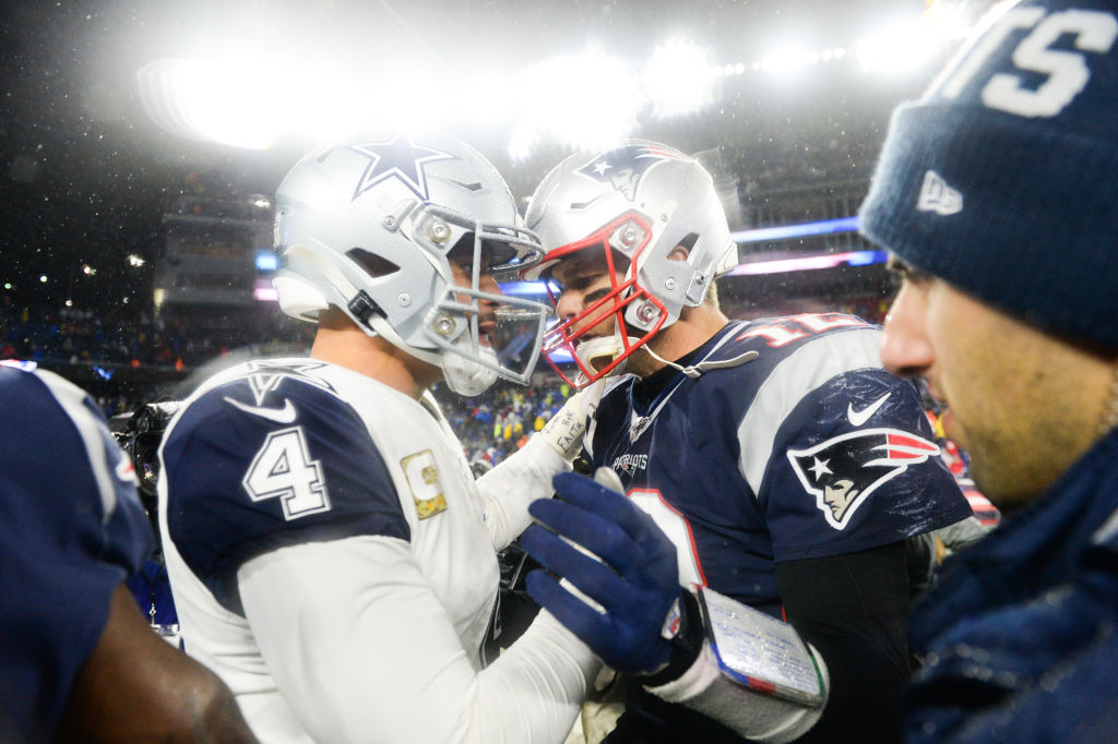 Dak Prescott of the Dallas Cowboys shakes hands with Tom Brady of the New England Patriots