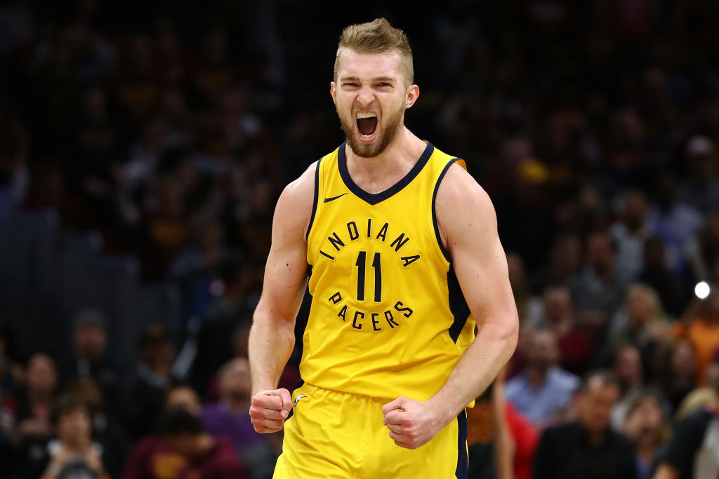 Domantas Sabonis celebrating a point during a Pacers game