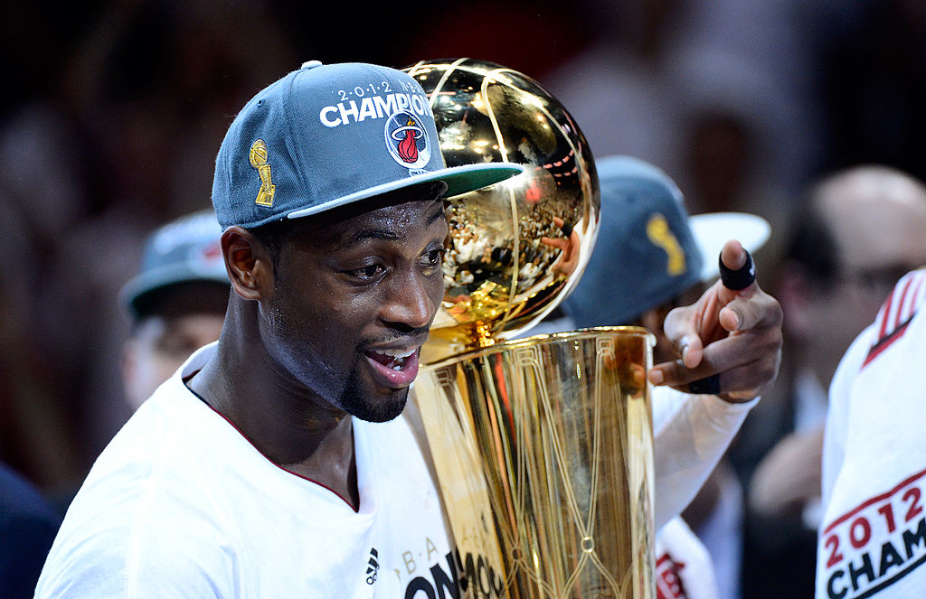 Dwyane Wade celebrating winning the NBA Finals