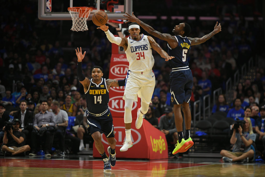 Gary Harris of the Denver Nuggets guard Tobias Harris of the Los Angeles Clippers