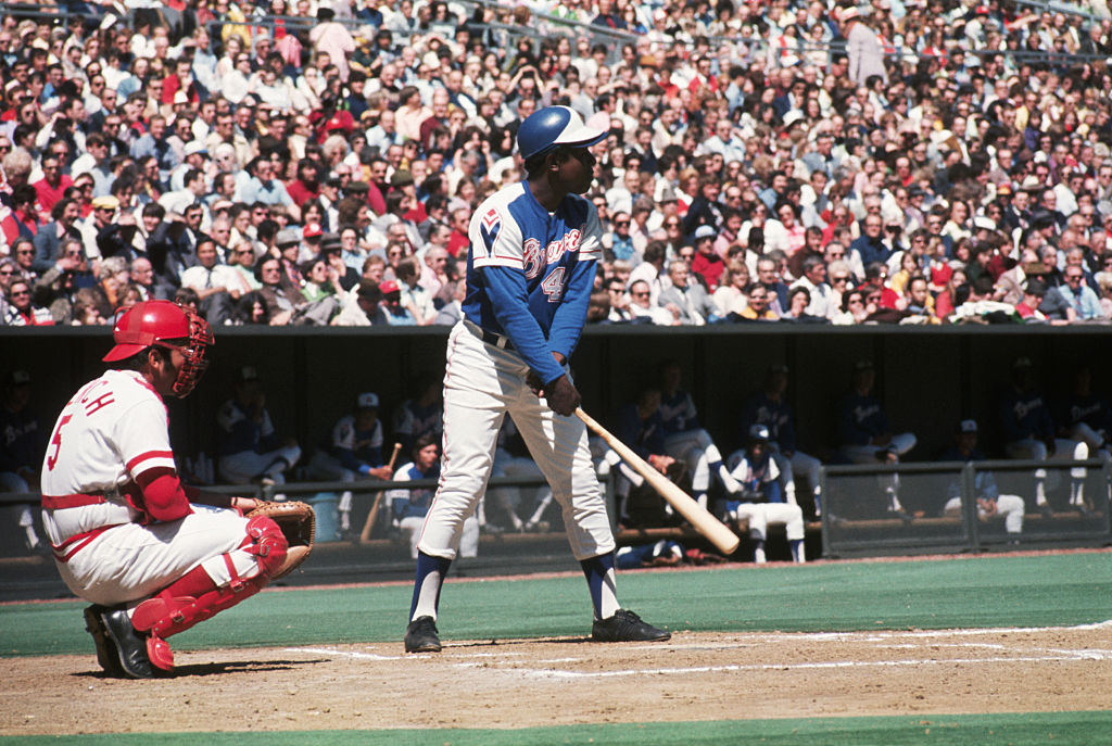 Hank Aaron at the plate ready to hit