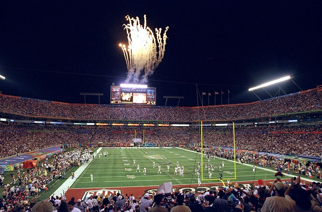A shot of a Miami stadium hosting the Super Bowl