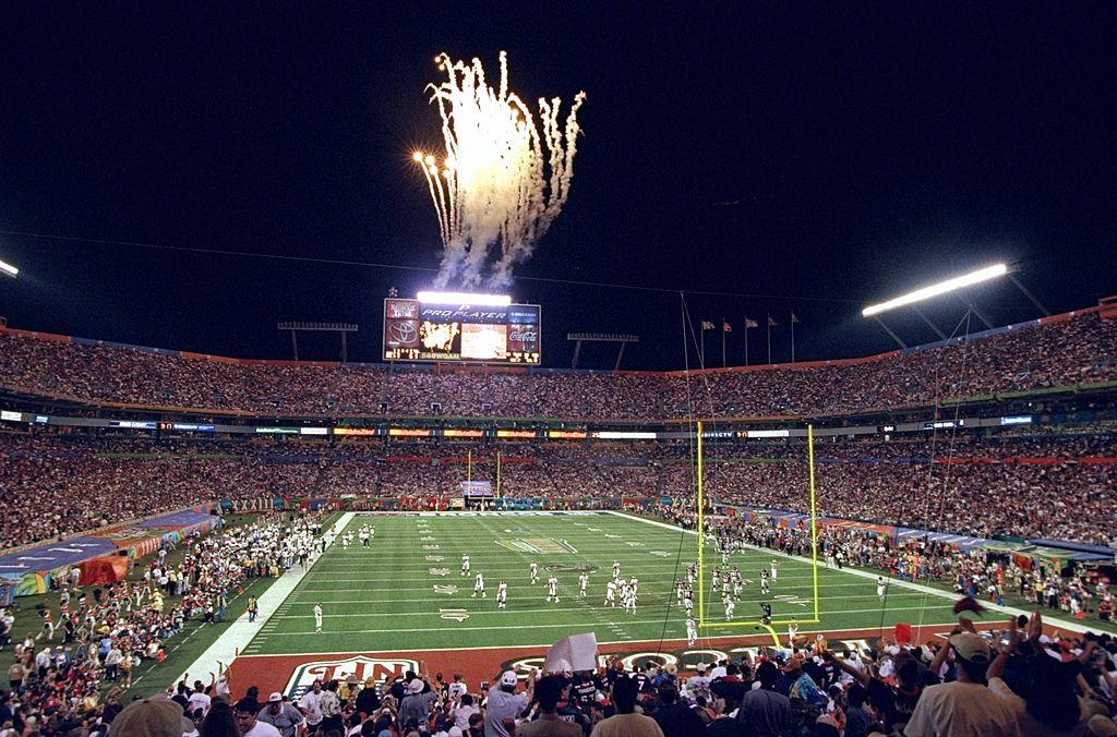 A shot of a Miami stadium hosting the Super Bowl