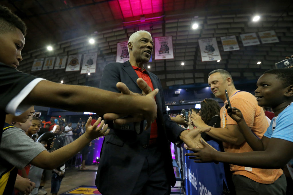 Head coach Julius Erving of Tri-State greets fans during the BIG3 three-on-three basketball league in 2019