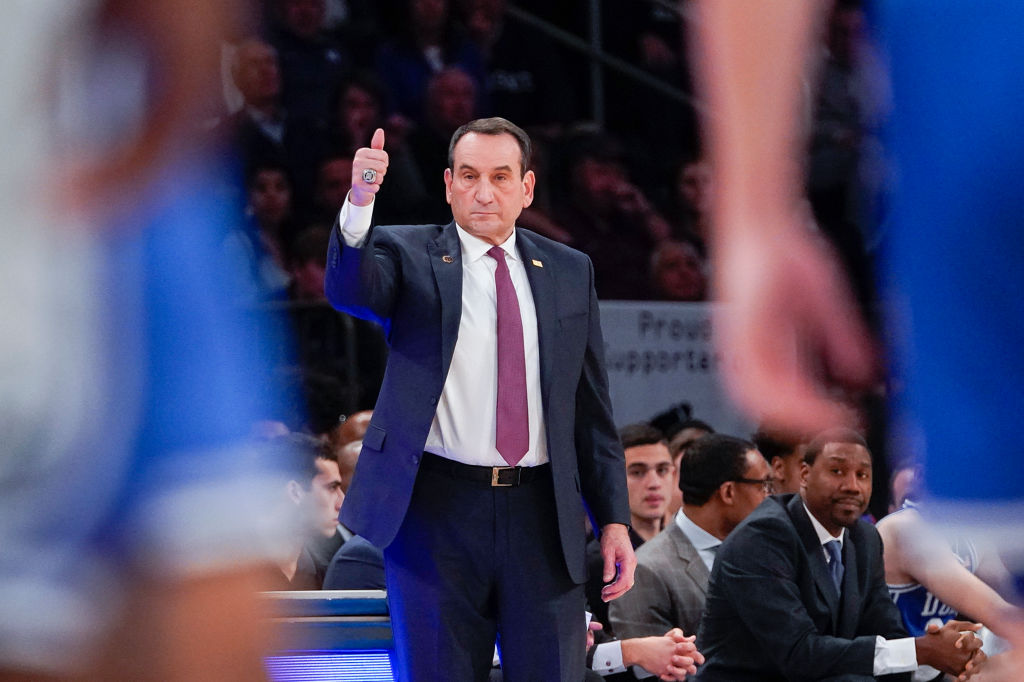 Head coach Mike Krzyzewski of the Duke Blue Devils during a game