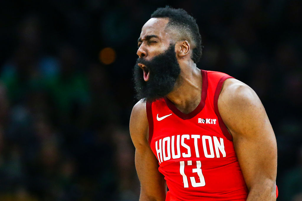 James Harden celebrating after scoring a basket