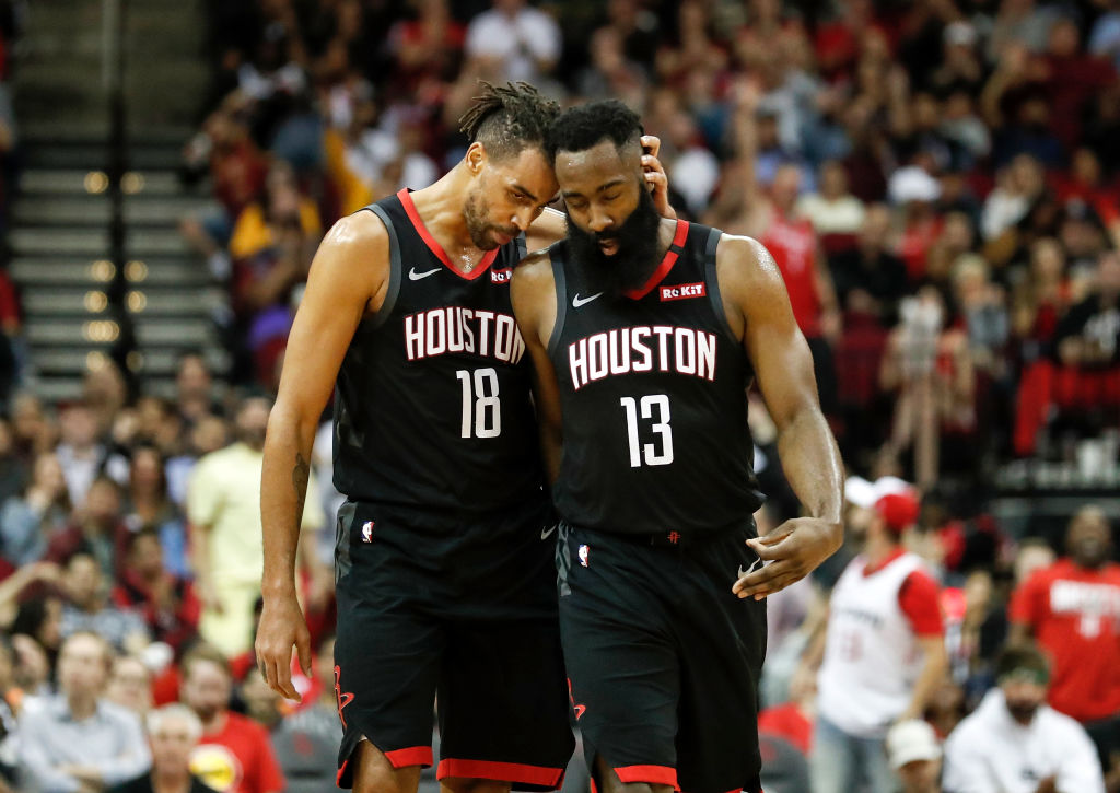 James Harden of the Houston Rockets is congratulated by Thabo Sefolosha