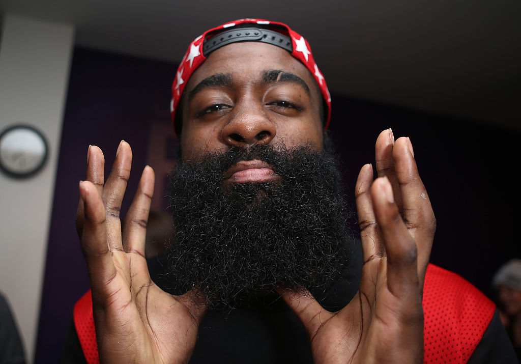 James Harden poses as he shows off his beard