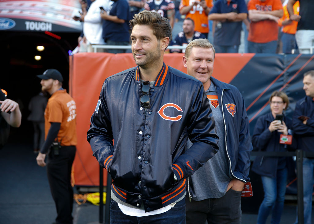 Jay Cutler on the sideline of a Chicago Bears game