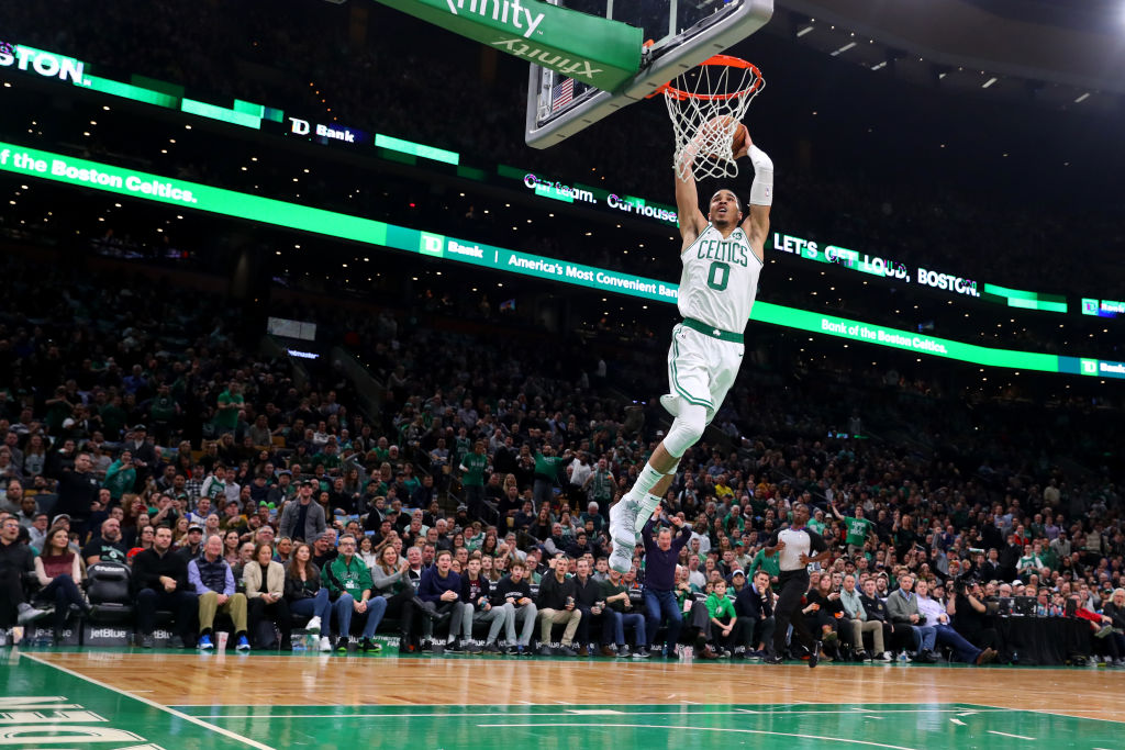 Jayson Tatum about to get a fast-break dunk
