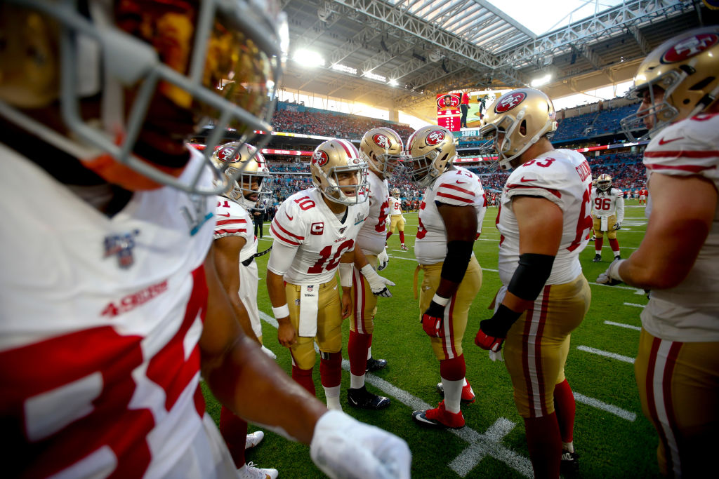 Jimmy Garoppolo of the San Francisco 49ers calls a play against the Chiefs in Super Bowl LIV