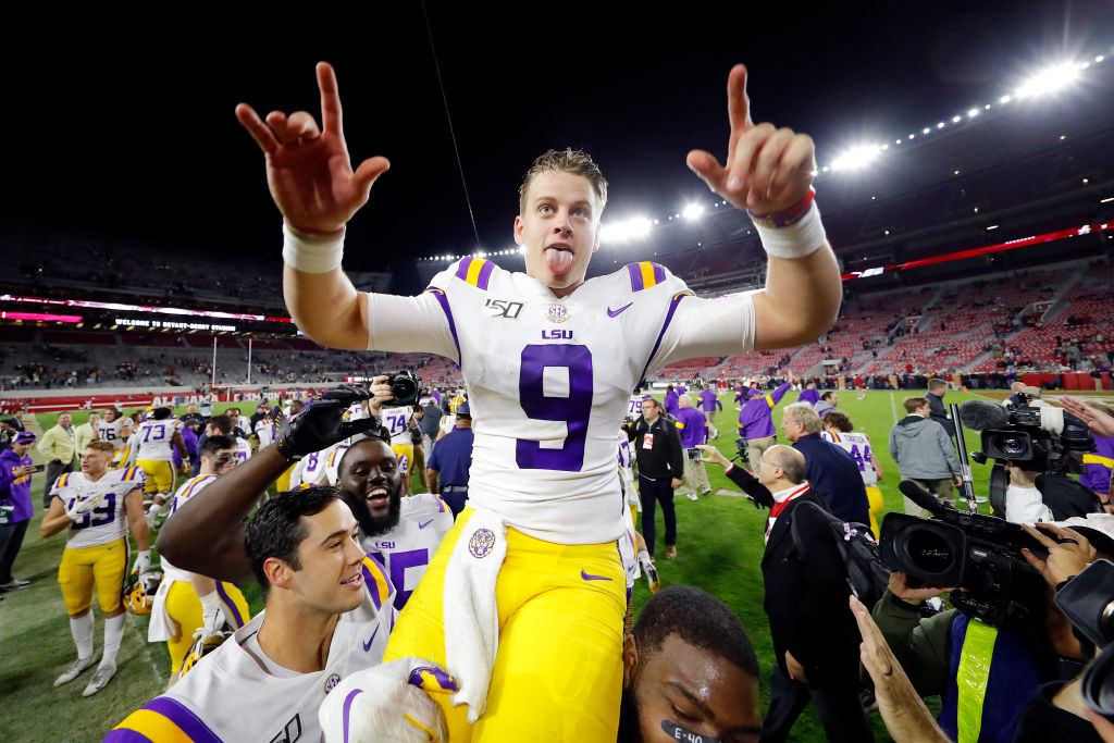 Joe Burrow being carried off the field