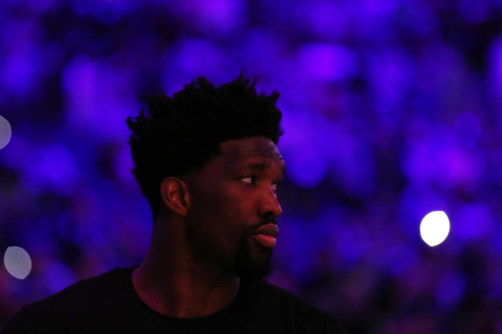 Joel Embiid during pregame warm-ups