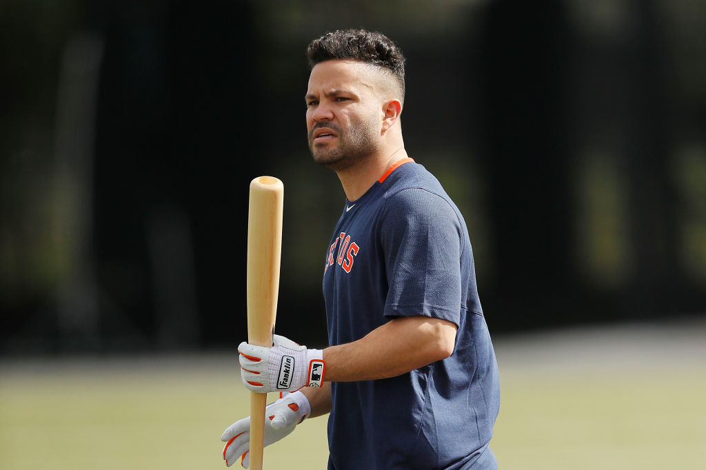 Jose Altuve of the Houston Astros walks to the batting cage