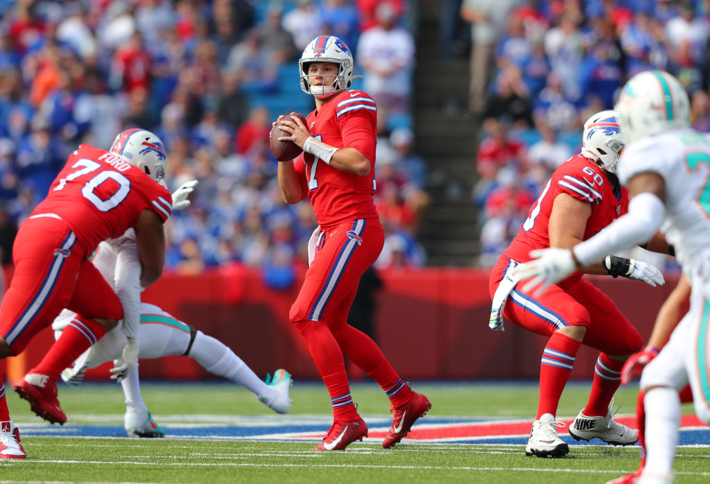 Josh Allen of the Buffalo Bills looks to throw a pass on October 20, 2019