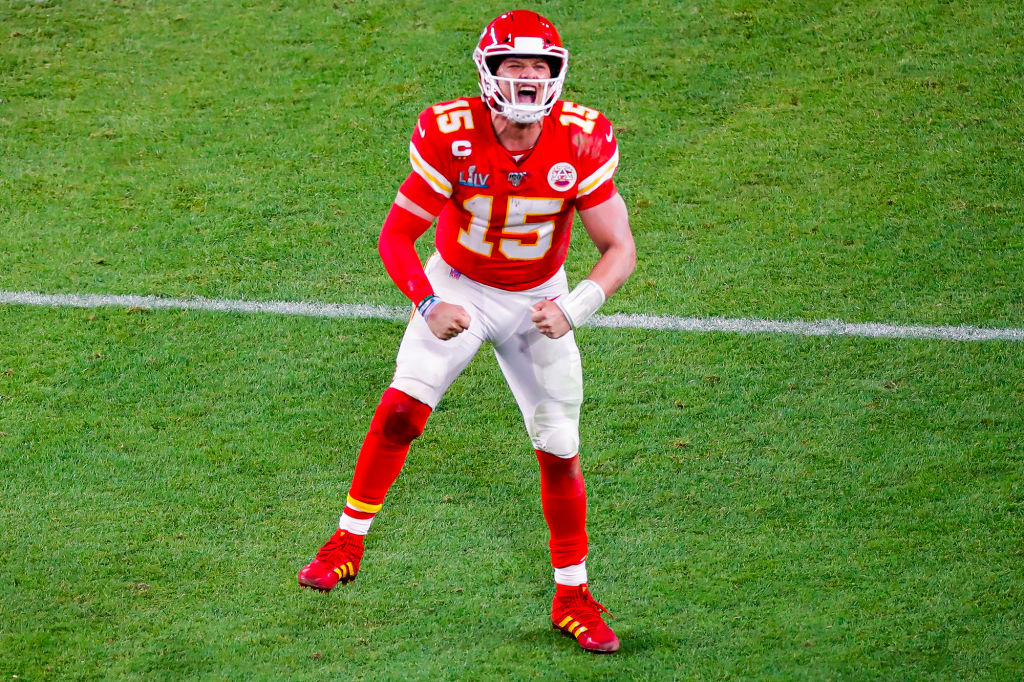 Kansas City Chiefs quarterback Patrick Mahomes reacts during the second half of Super Bowl LIV