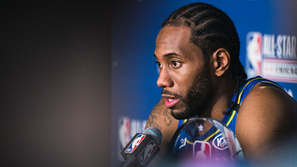 Kawhi Leonard talking to the press after the NBA All-Star game