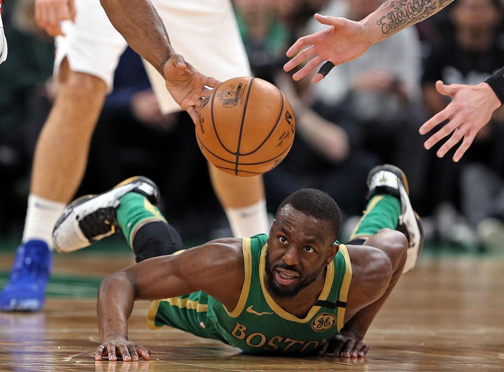 Kemba Walker of the Boston Celtics loses the ball