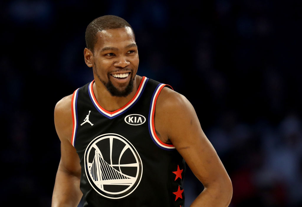 Kevin Durant of the Golden State Warriors and Team LeBron during the 2019 NBA All-Star game