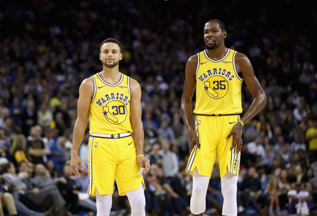 Former Warriors teammates Kevin Durant and Stephen Curry