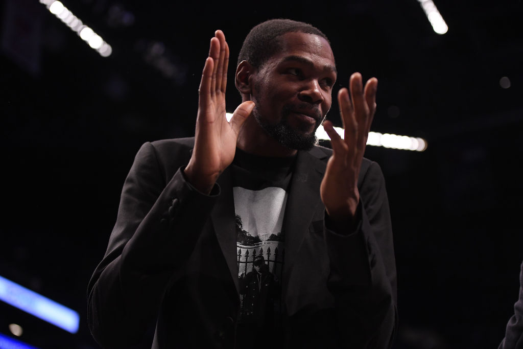 Kevin Durant of the Brooklyn Nets during the game against the Philadelphia 76ers