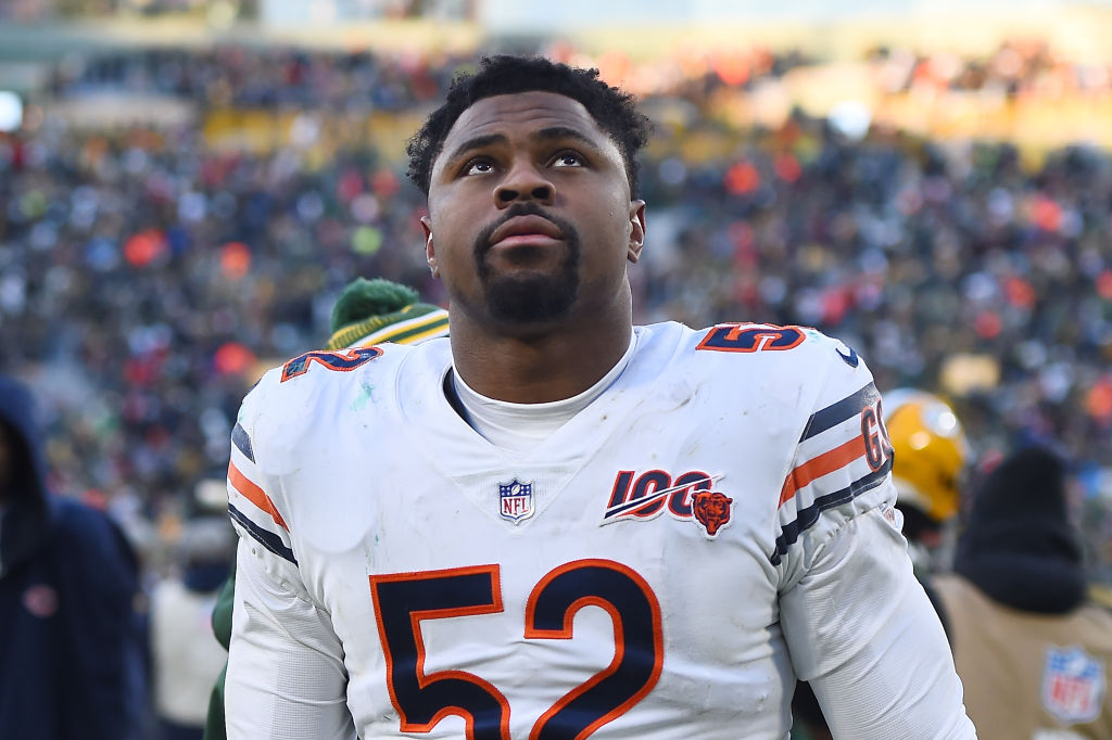 Khalil Mack of the Chicago Bears leaves the field following a game