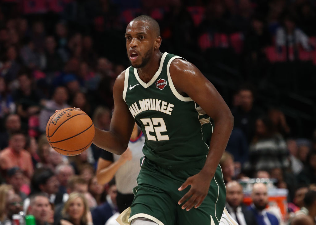 Khris Middleton dribbles the ball up the court for the Bucks