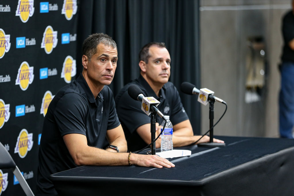 Lakers general manager Rob Pelinka and head coach Frank Vogel