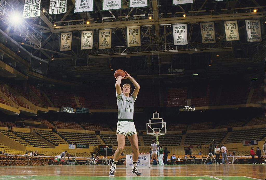 Larry Bird of the Boston Celtics practices before a game in 1986