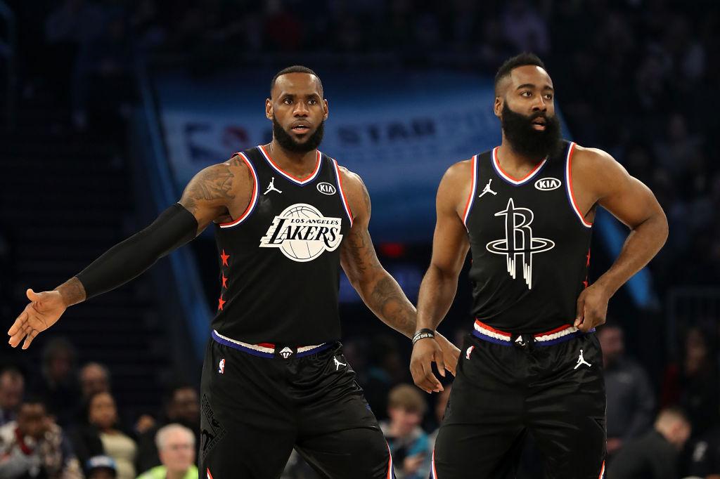 NBA All-Stars LeBron James and James Harden