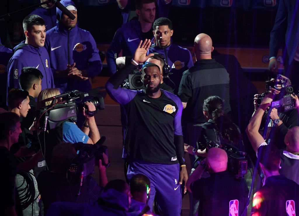LeBron James of the Los Angeles Lakers waves to fans