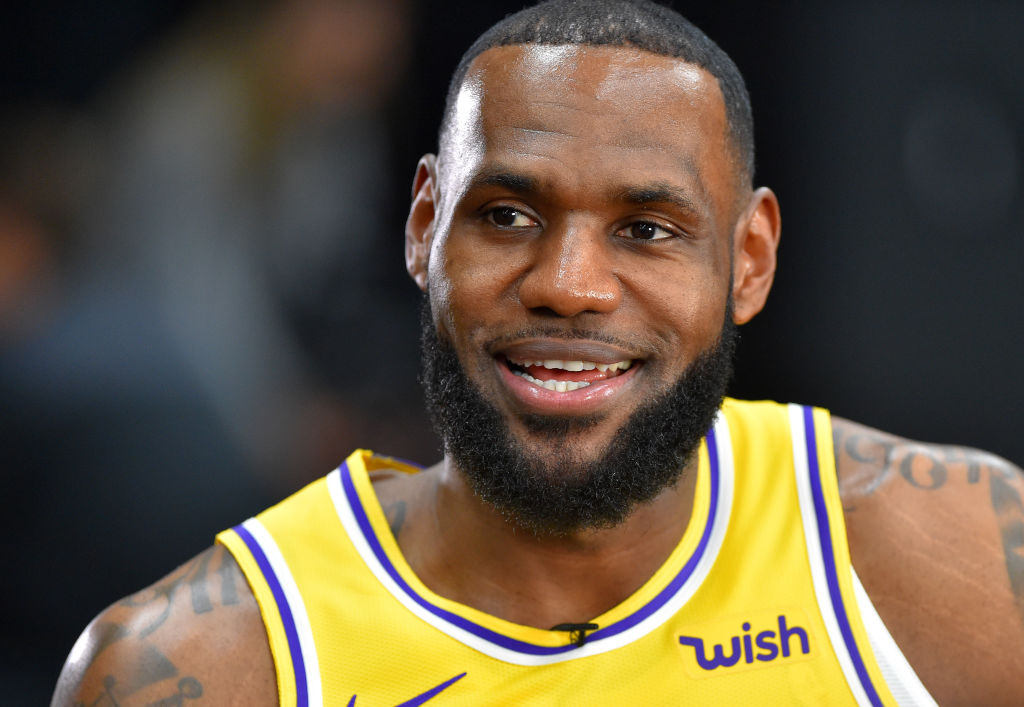 LeBron James giving an interview for the Lakers