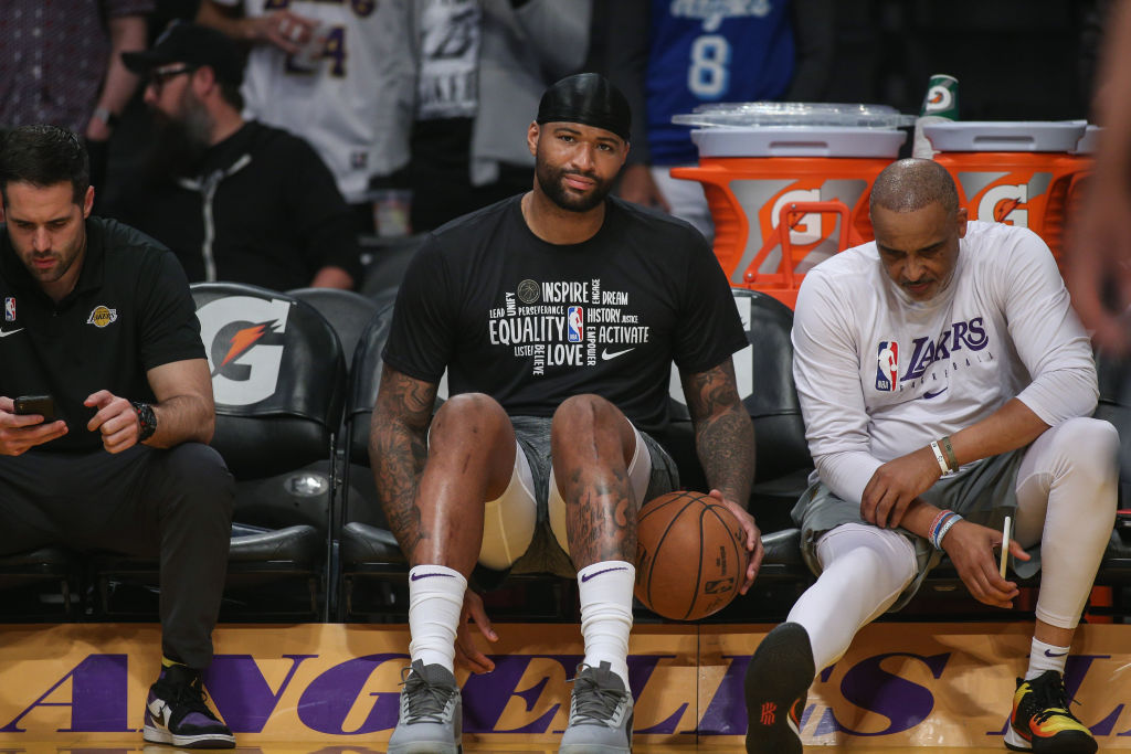 Los Angeles Lakers center DeMarcus Cousins watched from the bench